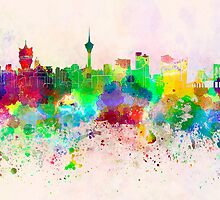 Macau skyline in watercolor background by Pablo Romero