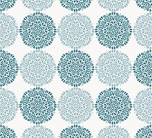 Navy blue lace flower pattern on white background by amovitania