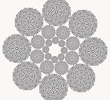 Black lace flower pattern on white background by amovitania