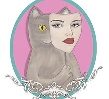 Cat wearing pretty girl mask by babirusa