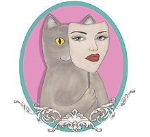Cat wearing pretty girl mask Photographic Print