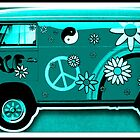 VW Flower Power Camper in turquoise by ©The Creative  Minds