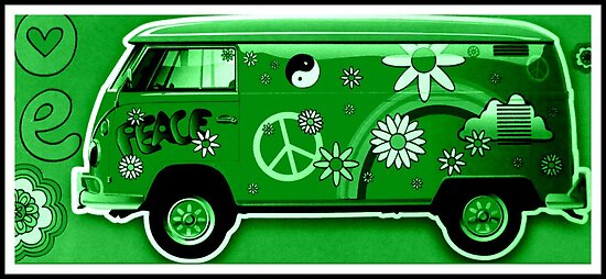 VW Flower Power Camper in green by ©The Creative  Minds