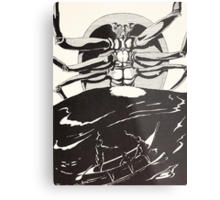 Pau Amma the Crab rising out of the sea as tall as the smoke of three volcanoes Metal Print