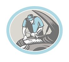 Auto Mechanic Car Repair Woodcut Retro by patrimonio