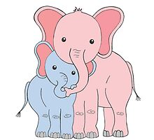 Elephant Family Mom and Son by Marissa Falk-Varcoe