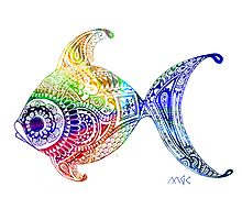Zentangle Pop Art Rainbow Fish  by wildwildwest