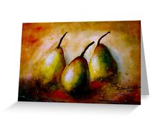 Still Life With Three Pears.. Greeting Card