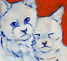 BFF White Cats by Carole Chapla