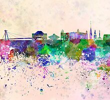 Bratislava skyline in watercolor background by paulrommer