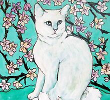 White Cat with Cherry Blossoms by Carole Chapla