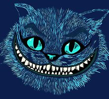 Alice's Cheshire blue head poster by EdWoody