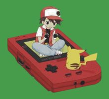 Pikachu and Ash on gameboy by nomnomnomdesigs