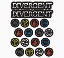 Divergent Faction Symbols Sticker Sheet 2 (for kendellann!) by vestigator