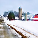 Barn Along a Snowy Road by Nadya Johnson