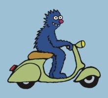 Blue monster on a green scooter Kids Clothes