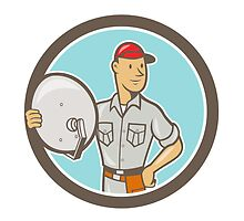 Cable TV Installer Guy Cartoon by patrimonio