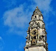 The Clock Tower, City Hall, Cardiff by Paula J James