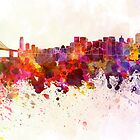 San Francisco skyline in watercolor background by Pablo Romero