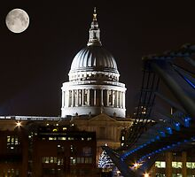 The Millennium Bridge at Night with St Paul's Cathedral by WillG