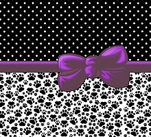 Dog Paws, Traces, Polka Dots -  Ribbon, Bow - White Black Purple by sitnica