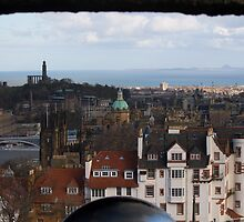 View from Edinburgh Castle over Edinburgh, the River Forth down to East Lothian by Pat Millar