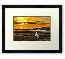 Aberffraw Sunset with Horse  Framed Print