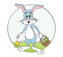 Easter Bunny Blue Rabbit Cartoon by Graphxpro