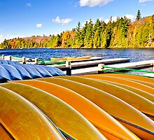 Canoe rental on autumn lake by Elena Elisseeva