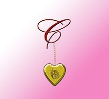 C Golden Heart Locket by Chere Lei