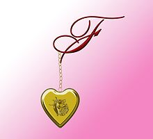 F Golden Heart Locket by Chere Lei