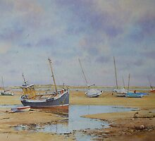 Fishing Boats, Low Tide at Brancaster Staithe by briancday