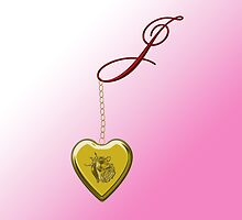 J Golden Heart Locket by Chere Lei