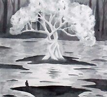 The White tree, watercolor by varzanic