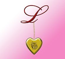 L Golden Heart Locket by Chere Lei