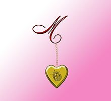 M Golden Heart Locket by Chere Lei