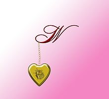 W Golden Heart Locket by Chere Lei