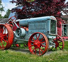 Old Red Steel-Wheeled Tractor by rharrisphotos