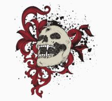 Skull Boned Bullet Through Forehead Red Ribboned Floral by artkrannie