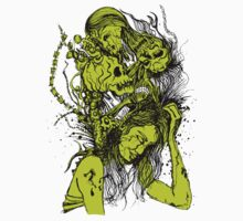 "Skull Gothic ""Woman and Skull"" Green by artkrannie"