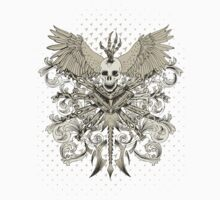 "Skull ""Winged Daggers and Swords"" Floral by artkrannie"