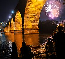 Stone Arch Bridge Aquatennial Fireworks by Joe Michaud-Scorza