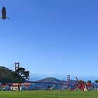 Blue Heron Blue Sky Crissy Field  by David Denny