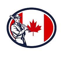 Canadian Baseball Batter Canada Flag Retro by patrimonio