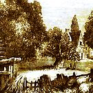 A digital painting of An Old Mill Stream 1851 by Dennis Melling