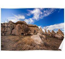 Stone Huts: Hiking in Cappadocia, Turkey Poster