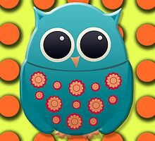 Cute Blue and Green Owl on Yellow with Orange Polka Dots by tsuttles