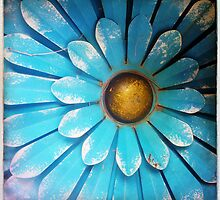 Blue and Gold Metal Daisy V by Roger Passman