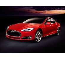 Tesla Model S red luxury electric car outdoors art photo print Photographic Print