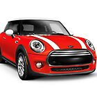 Red 2014 Mini Cooper Hardtop car art photo print by ArtNudePhotos